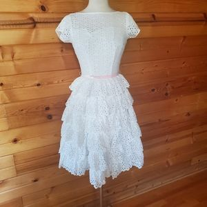 1950s Henley Jr White Cotton, Tiered Party Dress